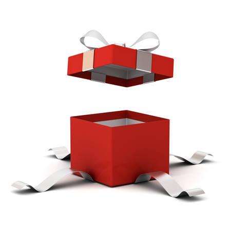 Coffret rouge ouvert, boîte actuelle avec noeud ruban argent isolé sur fond blanc avec une ombre. Rendu 3D Banque d'images
