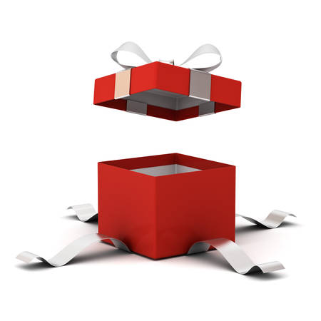 Red open gift box , present box with silver ribbon bow isolated on white background with shadow . 3D rendering.