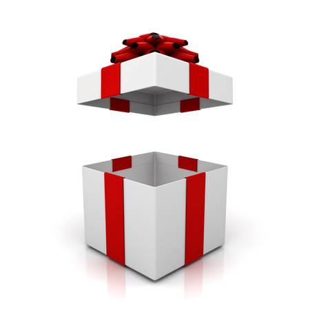 Ouvrez la boîte de cadeau, boîte actuelle avec noeud de ruban rouge isolé sur fond blanc avec l'ombre et la réflexion. Rendu 3D
