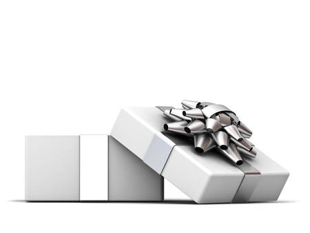 Open gift box , present box with silver ribbon bow isolated on white background with shadow . 3D rendering. Banque d'images
