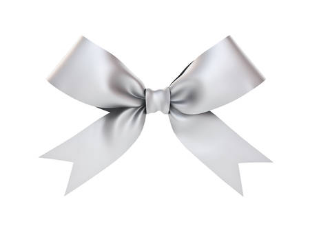 gray hair: Silver gift ribbon bow isolated on white background . 3D rendering. Stock Photo