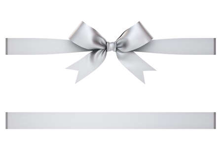 Silver gift ribbon bow isolated on white background . 3D rendering. Stock Photo