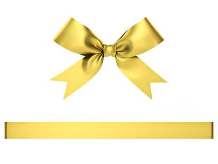 Arceau de cadeau d'or isolé sur fond blanc. Rendu 3D.
