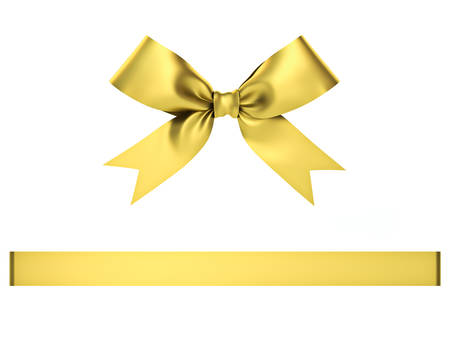 gefesselt: Golden gift ribbon bow isolated on white background . 3D rendering.
