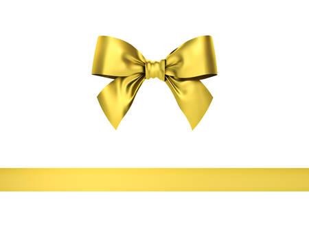 Archet ruban cadeau en or isolé sur fond blanc. Rendu 3D.