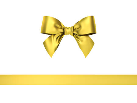 Gold gift ribbon bow isolated on white background . 3D rendering. Stock Photo
