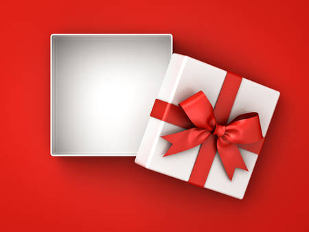 Ouvrez la boîte de cadeau, boîte actuelle avec l'arc de ruban rouge et espace vide dans la boîte isolée sur fond rouge avec une ombre. Rendu 3D Banque d'images