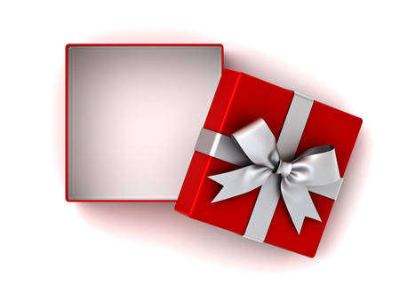 Open red gift box or present box with silver ribbon bow and empty space in the box isolated on white background with shadow . 3D rendering.