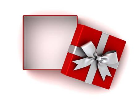 Apra il contenitore di regalo rosso o la scatola attuale con l'arco del nastro d'argento e lo spazio vuoto nella scatola isolata su fondo bianco con ombra. Rendering 3D. Archivio Fotografico