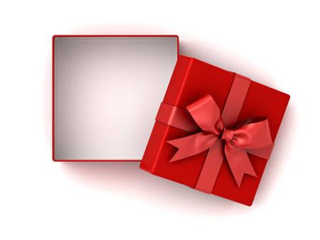 빨간색 선물 상자에서 빨간색 리본 나비와 그림자와 흰 배경에 고립 된 상자에서 빈 공간을 엽니 다. 3D 렌더링입니다.