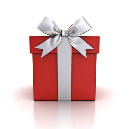 Coffret cadeau, coffret rouge avec noeud de ruban argent isolé sur fond blanc avec reflet. Rendu 3D
