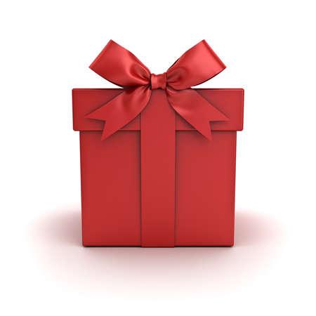 Boîte cadeau rouge, boîte présente rouge avec noeud de ruban rouge isolé sur fond blanc avec une ombre. Rendu 3D Banque d'images