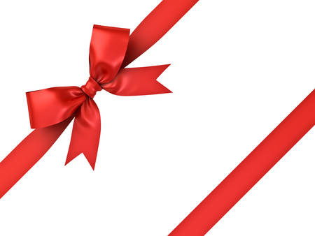diagonal stripes: Red gift ribbon bow isolated on white background . 3D rendering. Stock Photo
