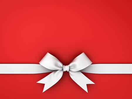 Arc de ruban cadeau blanc isolé sur fond rouge. Rendu 3D