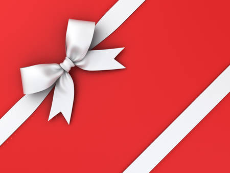 White gift ribbon bow isolated on red background . 3D rendering.