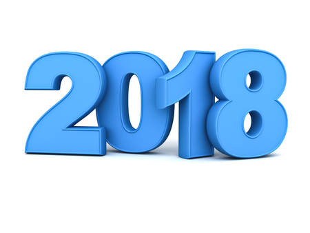 Bonne année 2018, texte bleu 3D isolé sur fond blanc avec reflet et ombre. Rendu 3D Banque d'images
