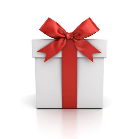 Coffret cadeau, boîte actuelle avec noeud de ruban rouge isolé sur fond blanc avec reflet. Rendu 3D Banque d'images