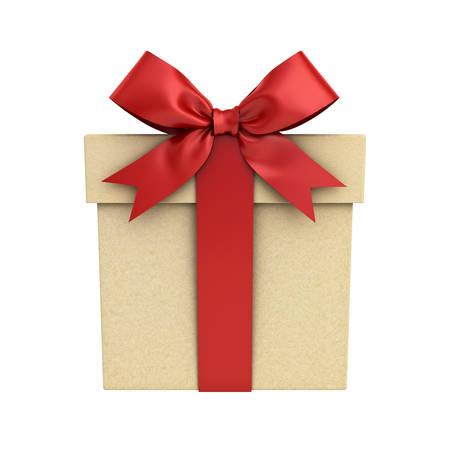 Boîte cadeau ou boite cadeau avec arceau ruban rouge isolé sur fond blanc. Rendu 3D. Banque d'images