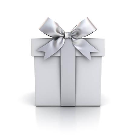 Coffret cadeau, boîte actuelle avec noeud ruban argent isolé sur fond blanc avec reflet. Rendu 3D