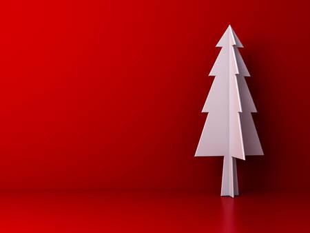 Sapin de Noël sur fond de couleur rouge foncé pour la décoration de Noël avec espace vide. Rendu 3D