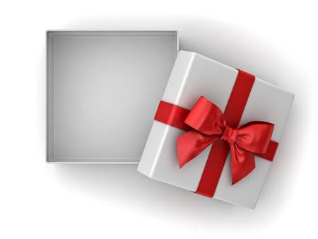 Ouvrez la boîte de cadeau, boîte de cadeau de Noël avec noeud de ruban rouge et espace vide dans la boîte isolée sur fond blanc avec une ombre. Rendu 3D