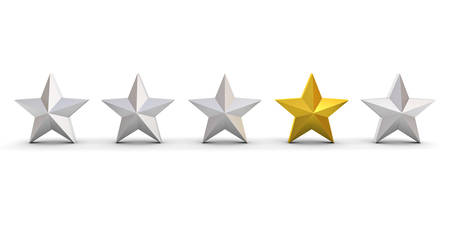 Stand out from the crowd and different concept , One gold star different from other silver stars isolated on white background with shadows . 3D rendering.