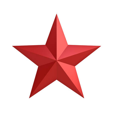 Red star for christmas decoration and other events isolated on white background . 3D rendering.