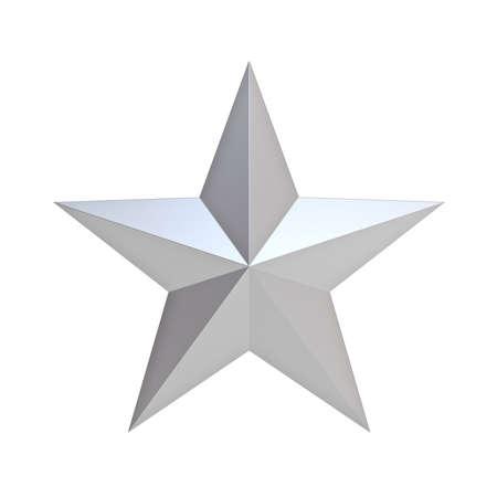 Étoile de Noël argentée pour la décoration de Noël et d'autres événements isolés sur fond blanc. Rendu 3D Banque d'images
