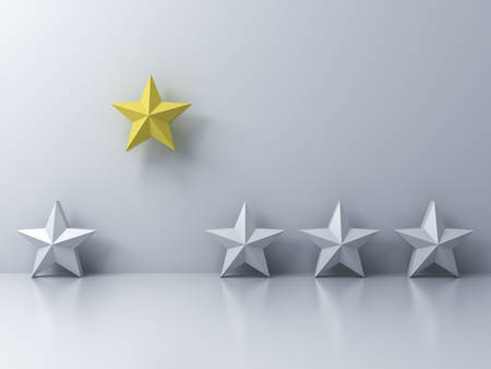 Stand out from the crowd and different concept , One yellow star different from other white stars on white wall background with shadows and reflections . 3D rendering. Stock Photo
