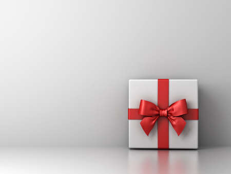 Gift box with red ribbon bow and empty white wall background abstract for decoration . 3D rendering.