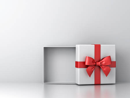Open gift box or present box with red ribbon bow and empty space in the box on white wall background with shadow and reflection . 3D rendering. Banque d'images