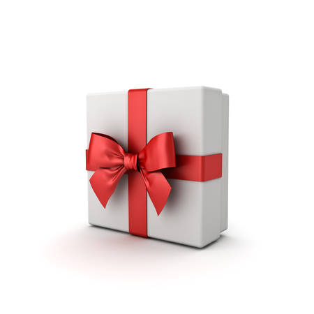 Gift box or Present box with red ribbon bow isolated on white background with shadow . 3D rendering. Banque d'images