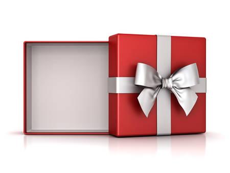 Ouvrez la boîte cadeau rouge ou la boîte présente avec un ruban ruban argenté et un espace vide dans la boîte isolée sur fond blanc avec ombre et reflet. Rendu 3D. Banque d'images