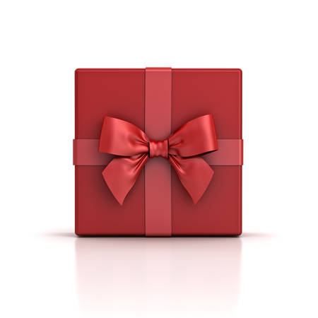 Red gift box red present box with red ribbon bow isolated on white background with shadow and reflection . 3D rendering.