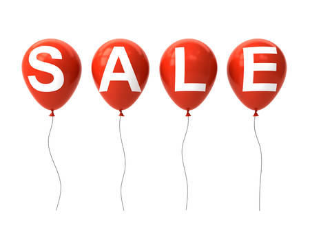 White sale word on red balloons isolated on white background. 3D rendering.