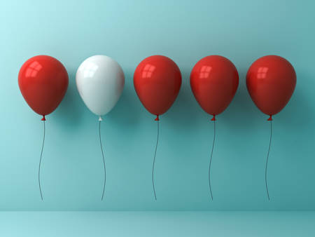 Stand out from the crowd and different concept , One white balloon different from other red balloons on light cyan pastel color wall background with reflections and shadows . 3D rendering.