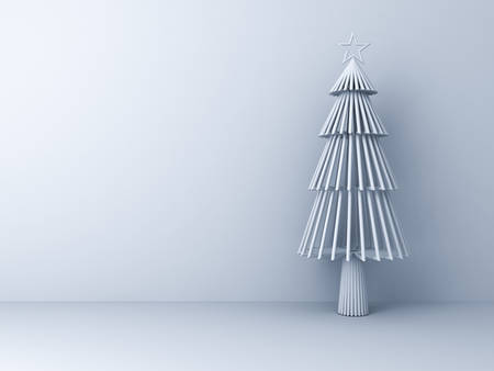 Christmas tree on white room background for christmas decoration with blank space . 3D rendering.