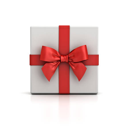 Gift box or present box with red ribbon bow isolated on white background with shadow and reflection . 3D rendering. Banque d'images