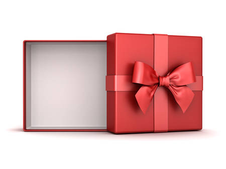 Red gift box open or present box with red ribbon bow and blank space inside the box isolated on white background with shadow . 3D rendering.