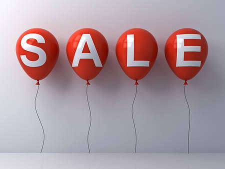 Sale word on red balloons on white wall background abstract . 3D rendering.