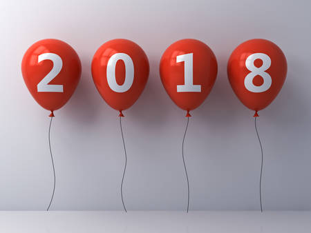Year two thousand eighteen , Happy new year 2018 , White 2018 text on red balloons isolated over white wall background with shadow and reflection . 3D rendering.