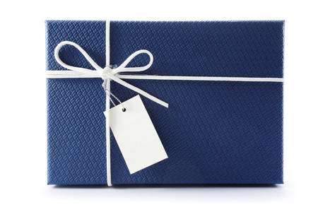 Gift box or present box with white rope bow and blank tag isolated on white background with shadow . 3D rendering. Stock Photo