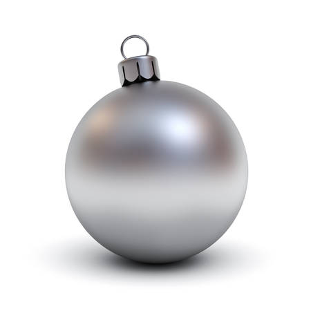 Metal Christmas ball or Silver christmas ball isolated on white background with shadow for christmas decoration . 3D rendering. Banque d'images