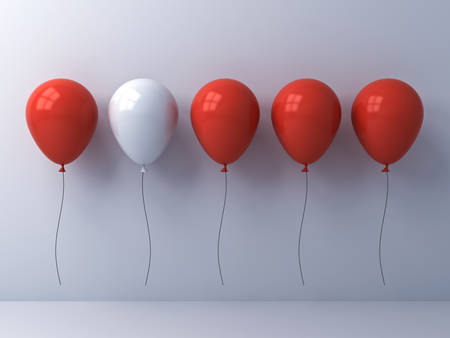 Stand out from the crowd and different idea concept , One white balloon among other red balloons on white wall background with reflections and shadows . 3D rendering.