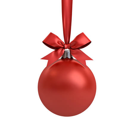 Red Christmas ball hanging with red ribbon and bow isolated on white background for christmas decoration . 3D rendering. Banque d'images