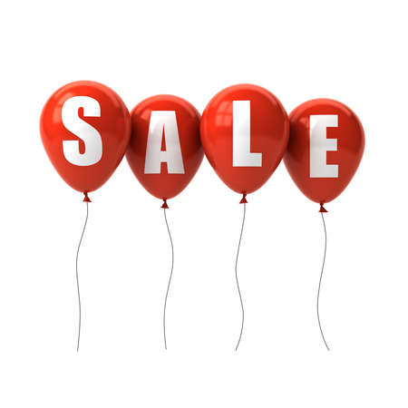 Sale text on red balloons isolated on white background. 3D rendering. Banque d'images