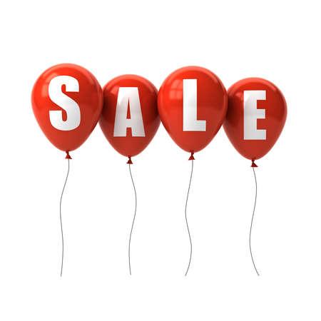 Texte de vente sur les ballons rouges isolés sur fond blanc. Rendu 3D Banque d'images