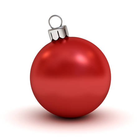 Red Christmas ball isolated on white background with shadow for christmas decoration . 3D rendering.