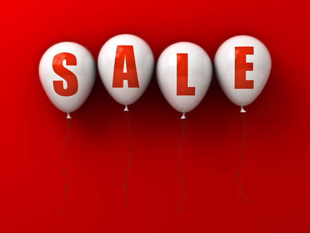 Sale text on white balloons isolated on red background with shadow . 3D rendering.