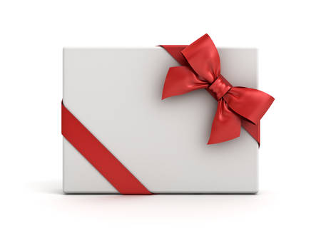 Gift box or present box with red ribbon and bow isolated on white background with shadow . 3D rendering.